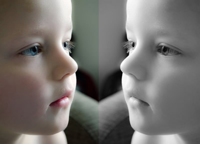 鏡に映る自分を見る